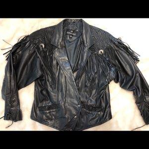 Bermans vintage leather fringe coat large